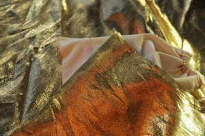 gold lame gift wrapping fabric