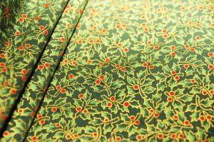 mini holly leaf Christmas fabric