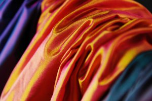 Polysilk habotai orange gold pink
