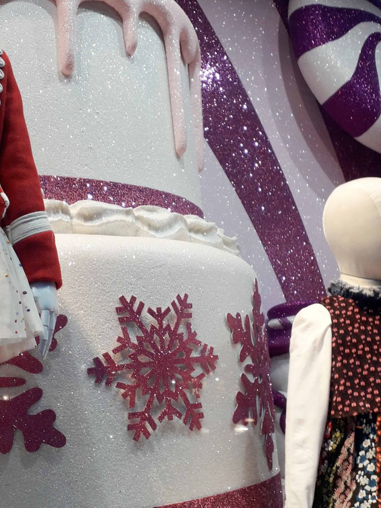 Harrods pink and white christmas window 2018 Chole