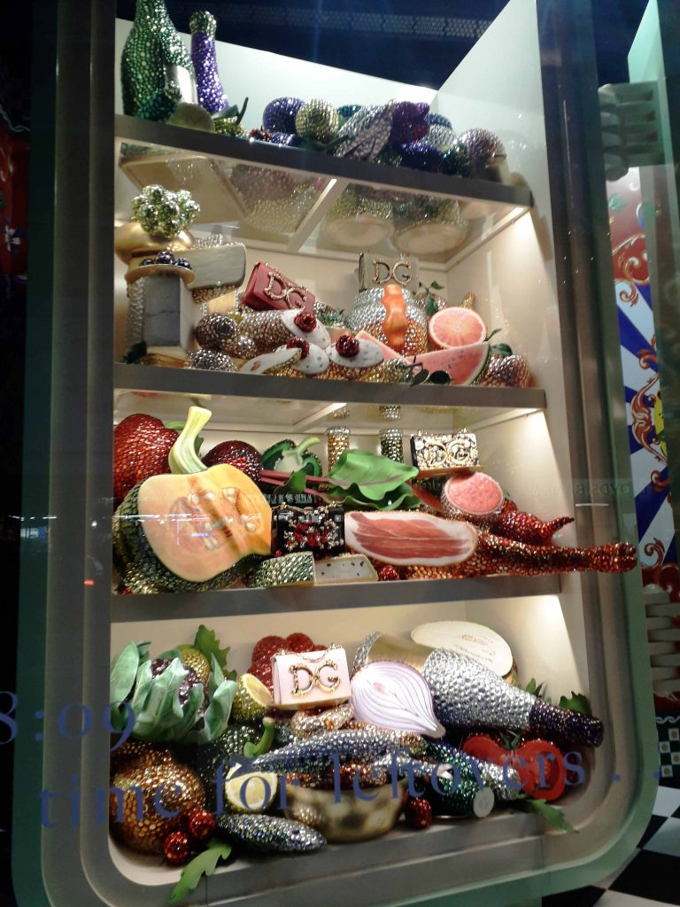 Harrods Christmas window 2018 jewelled food visual merchandising