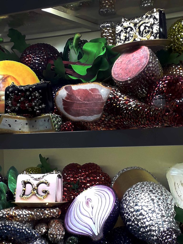 Harrods Christmas window 2018 jewelled food!