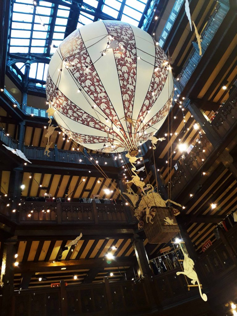 Liberty London 2018 Christmas hot air balloon in atrium
