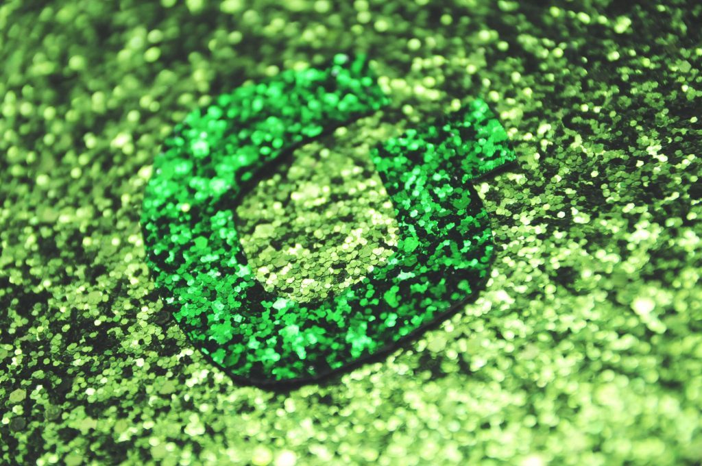 green large glitter display fabric