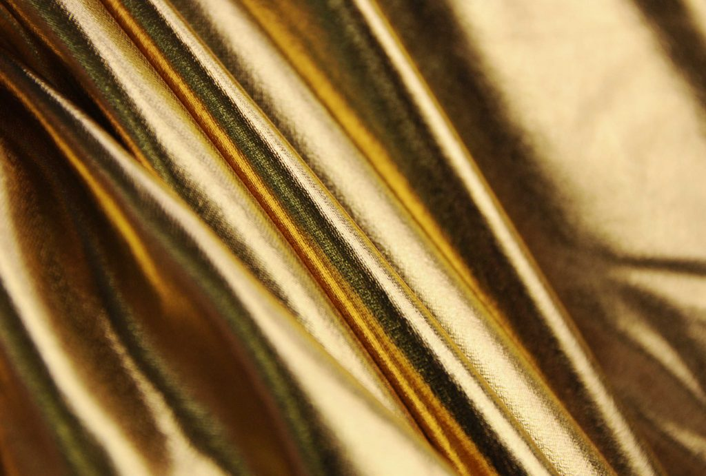 Gold stretch Lycra  metallic fabric