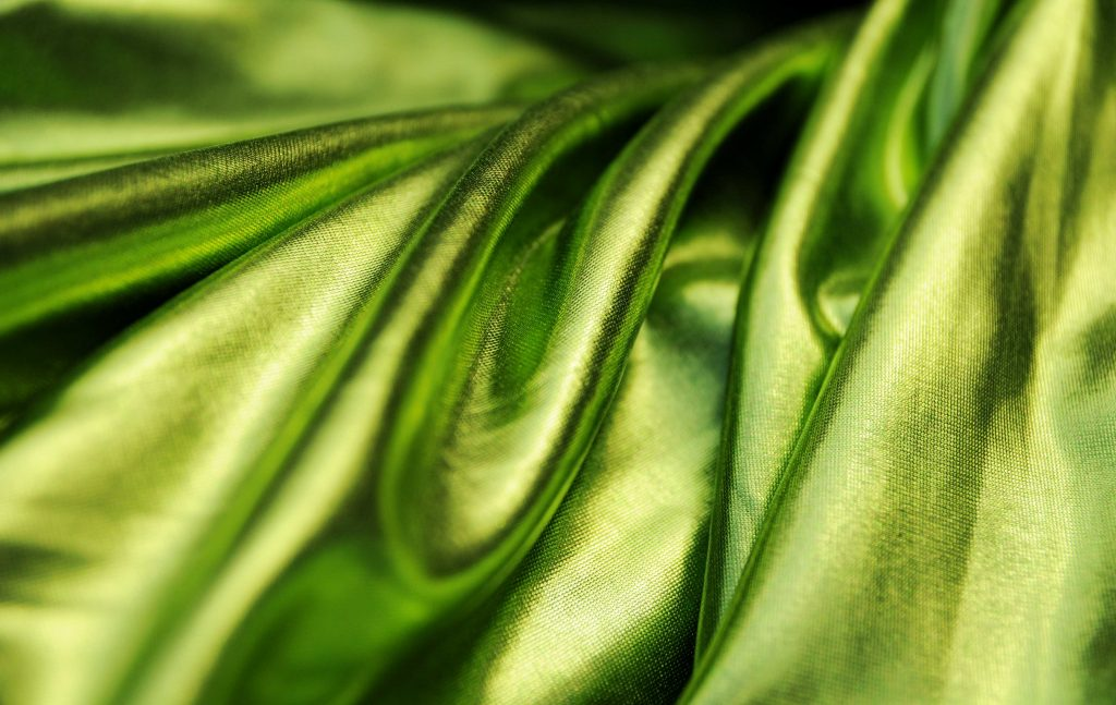Lime green metallic stretch lycra fabric