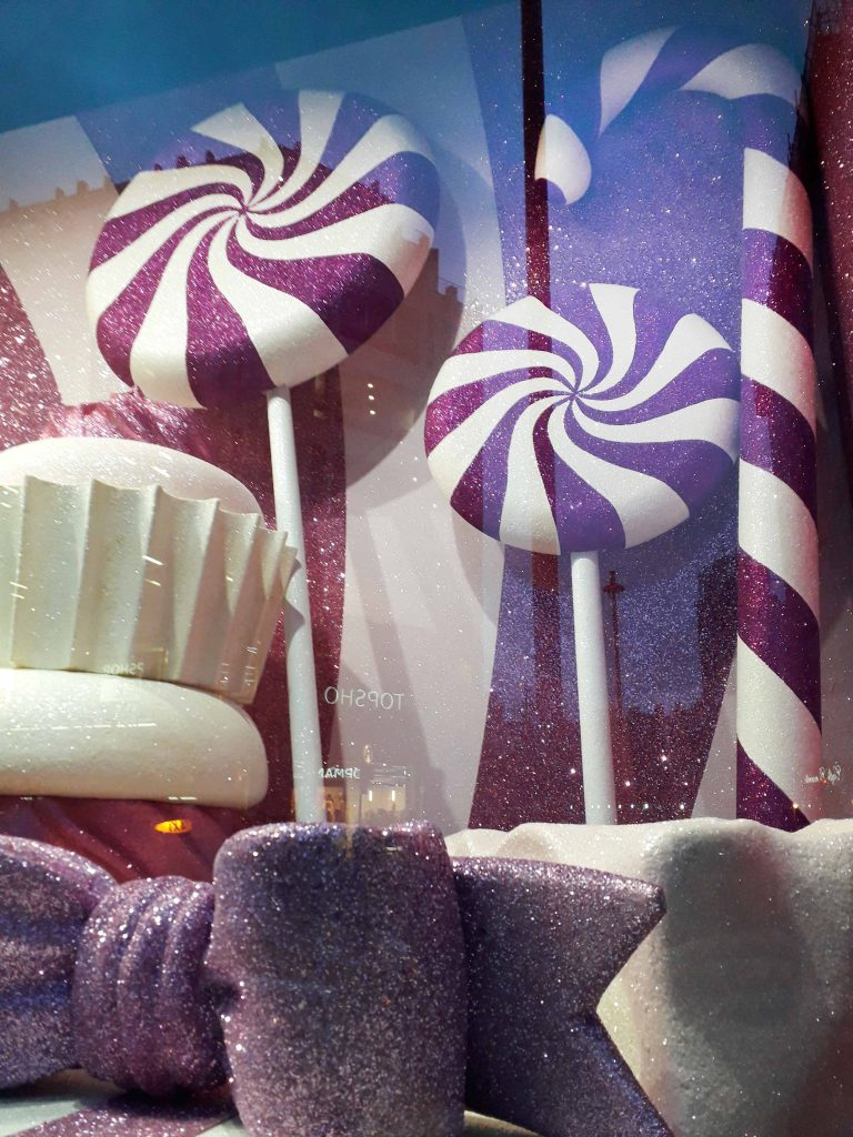 Harrods pink and white christmas window 2018