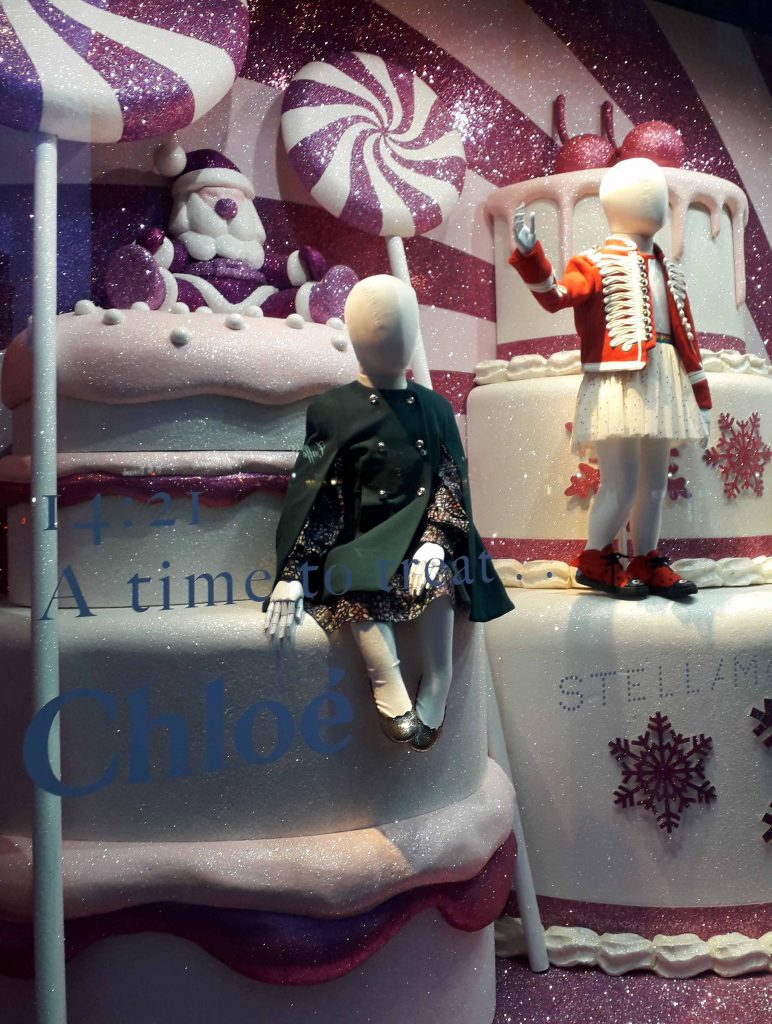 Harrods pink and white christmas window 2018 cakes