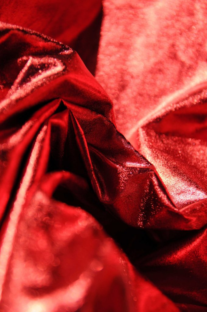 red metallic stretch fabric