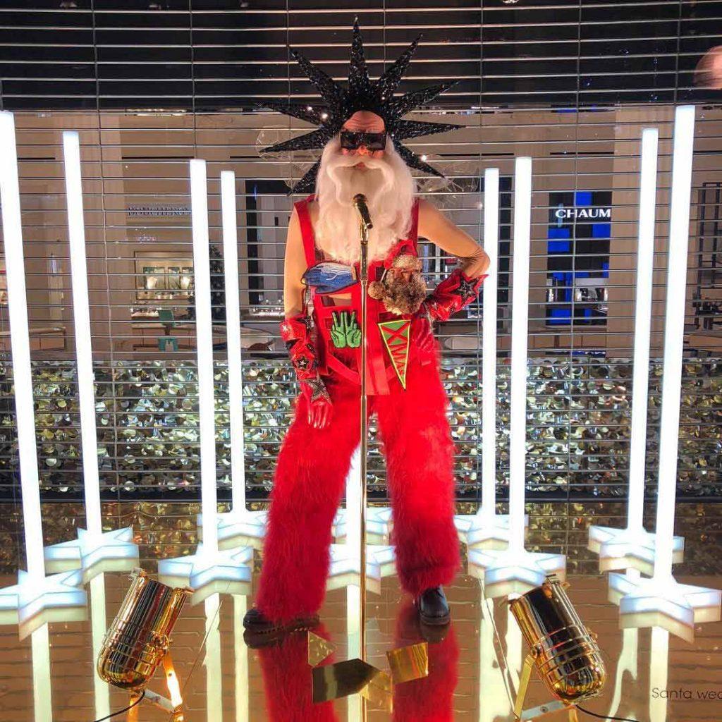rock star Santa furry dungarees