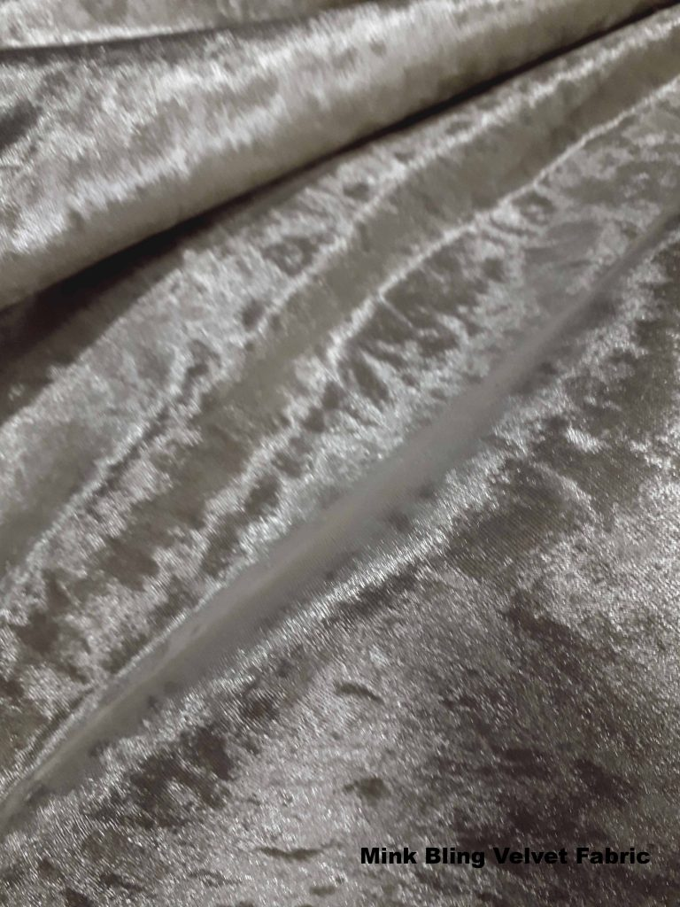 mink neutral shade of bling crushed velvet upholstery fabric