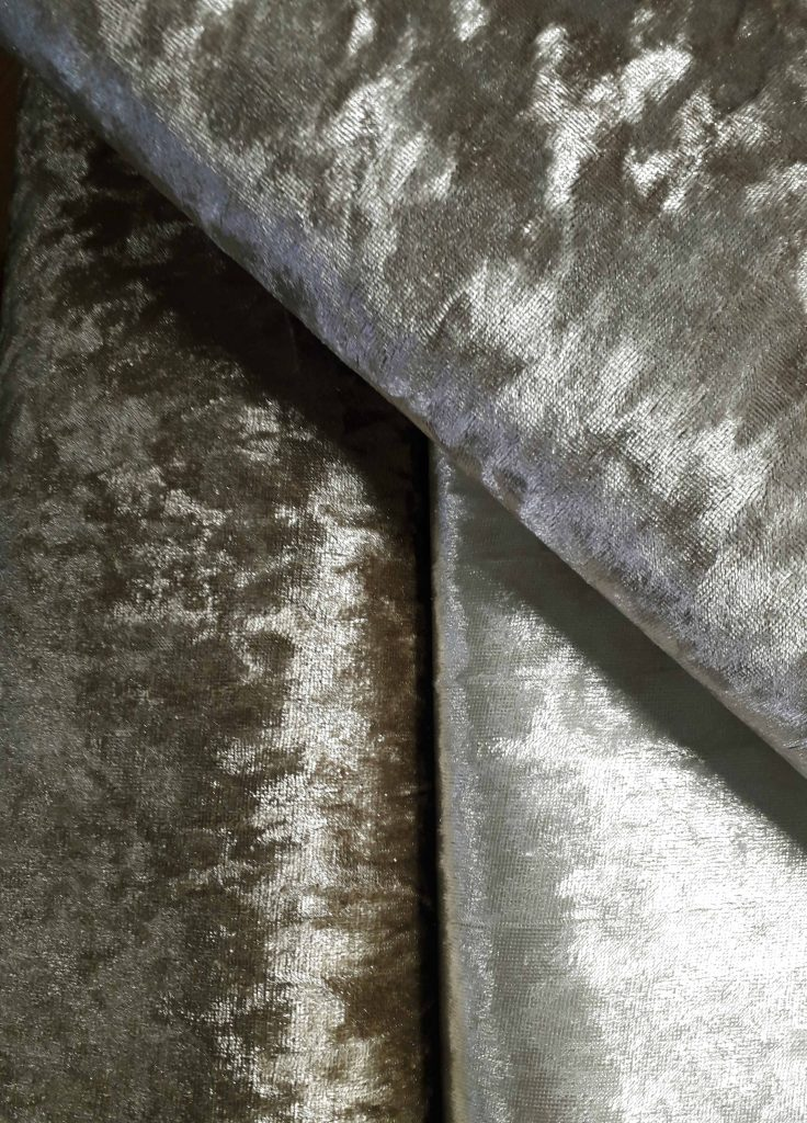 Mink Bling crushed velvet upholstery fabric