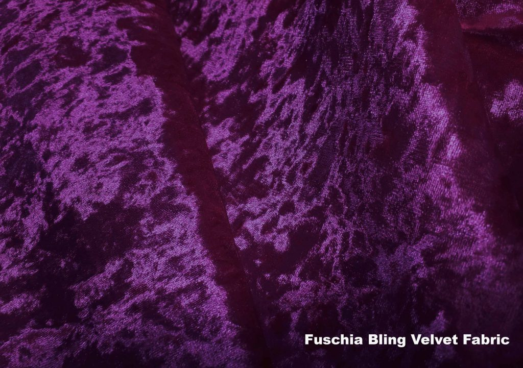 Fuschia Bling crushed velvet upholstery fabric