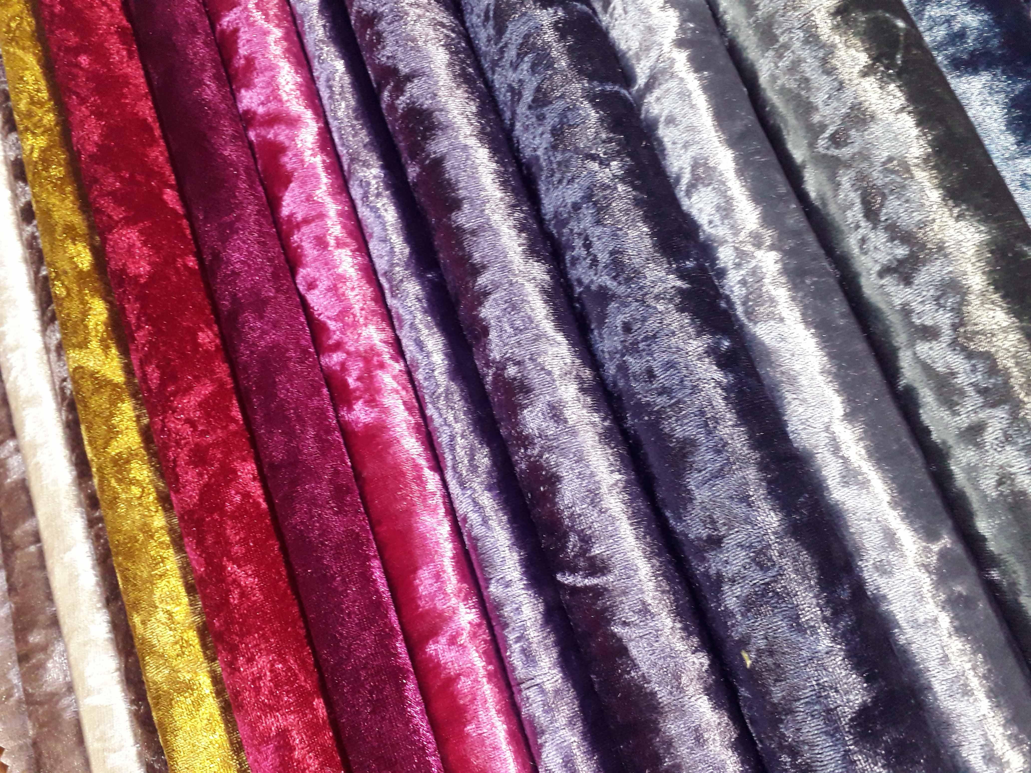 Luxury Bling Ivory Cream Heavy Crushed Velvet Curtain Fabric Upholstery Sofa
