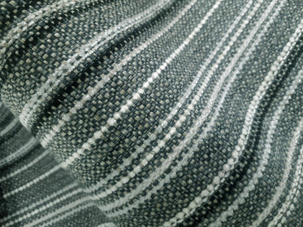 Ash Lomond stripe fire retardant upholstery fabric