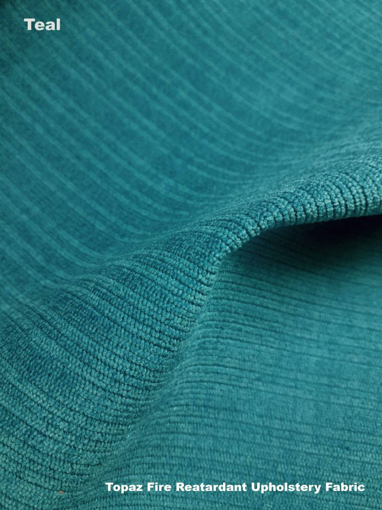 Topaz upholstery fire retardant fabric in Teal
