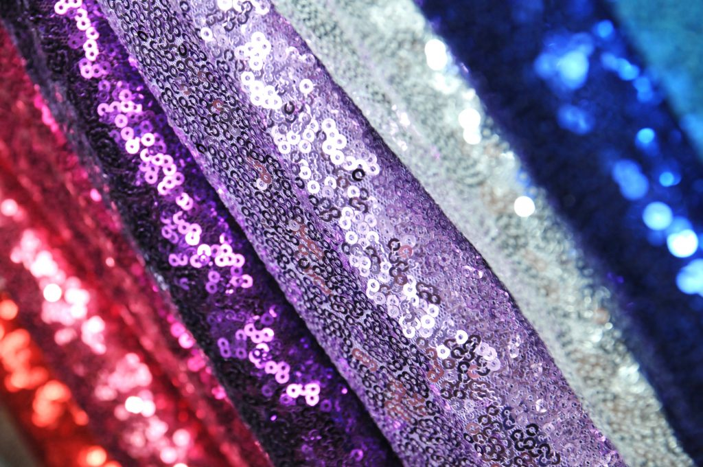 lilac silver blue purple and red all over sequin mesh fabric for fashion display Christmas